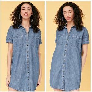 UO BDG Rosalynn Chambray Collared Shirt Dress